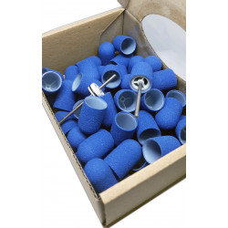 50 pcs, ∅ 13mm, 150 Grit, Fine, MULTIBOR PEDICURE SANDING CAPS Blue