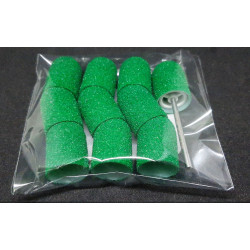 10 pcs, ∅ 13mm, 80 Grit, Medium, MULTIBOR PEDICURE SANDING CAPS Green